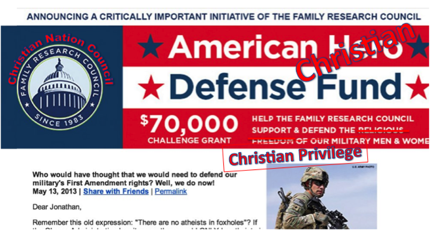 Don't be fooled FRC wants Christian privilege, not religious freedom.
